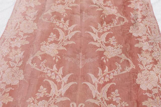 old antique woven cotton jacquard drapery panels, aesthetic vintage portieres, drapes w/ tassels