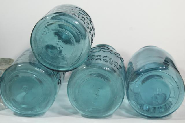 old aqua blue glass canning jars, authentic vintage Ball mason jars w/ zinc lids