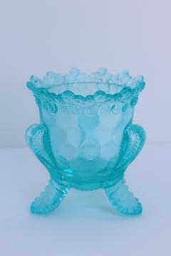 old aqua glass toothpick holder or match vase w/ flower border, makes a nice egg cup!