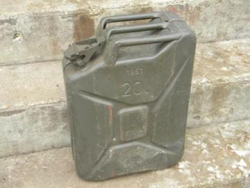 old army jeep or truck jerry can w/ olive green paint 1960s vintage