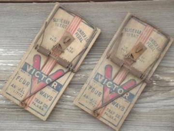 old barn rat traps for decoration, creepy vintage Halloween prop pieces