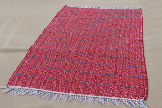 old barn red & indigo blue woven striped cotton rag rug ...