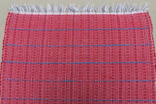 old barn red & indigo blue woven striped cotton rag rug, vintage kitchen door mat