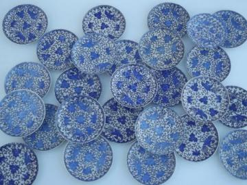 old blue and white china Phoenix Ware little plates and saucers lot