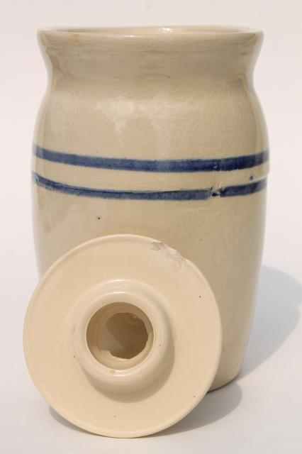 old blue band stoneware crock jar butter churn, primitive country farmhouse kitchen
