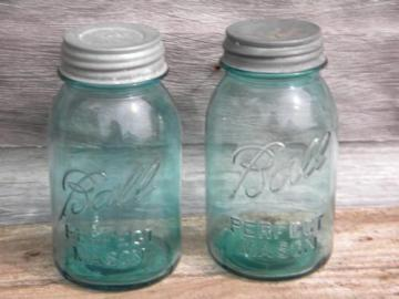 old blue glass Ball Perfect Mason fruit jars, 1 quart size w/zinc lids