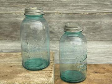 old blue glass Ball Perfect Mason fruit jars w/zinc caps, 2 quart size