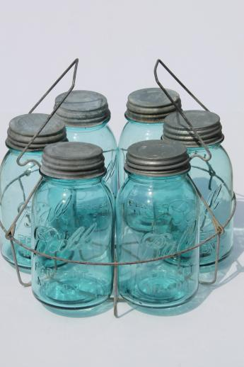 old blue glass canning jars, six vintage Ball mason jars w/ wire jar rack carrier