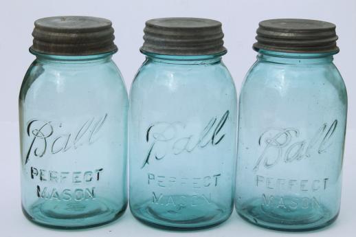 Old Blue Glass Canning Jars Six Vintage Ball Mason Jars W