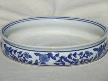 old blue & white Chinese porcelain tray or bowl for forcing flower bulbs