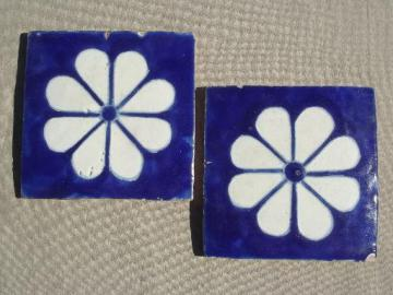 old blue & white  tiles, vintage cobalt blue flowered terracotta pottery tiles
