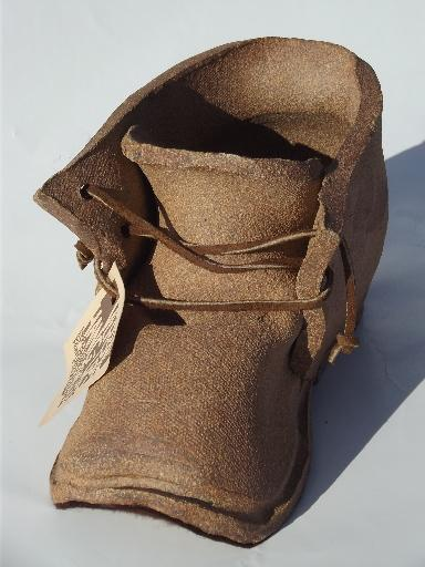 old boot stoneware flower / cactus planter, vintage California pottery