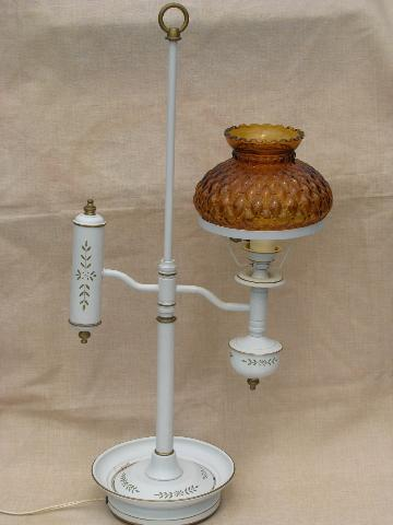 Old bouillotte desk table lamp vintage tole w amber glass shade aloadofball Gallery