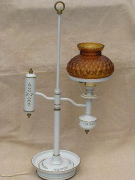 old bouillotte desk / table lamp, vintage tole w/ amber glass shade