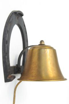 old brass bell w/ iron horseshoe hanger, cowboy dinner bell, Texas western ranch style