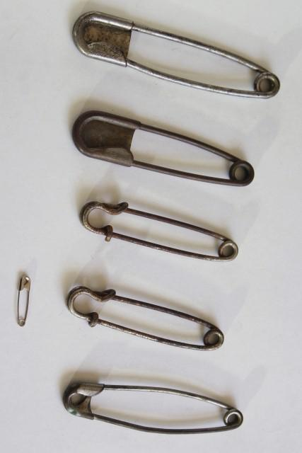 old brass horse blanket pins, huge safety pin style fasteners for kilts & blankets