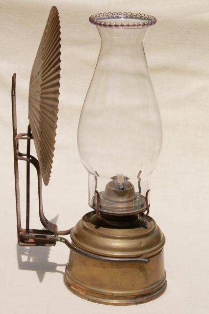 brass oil lamp wall mount kerosene light w/ tin reflector and ...