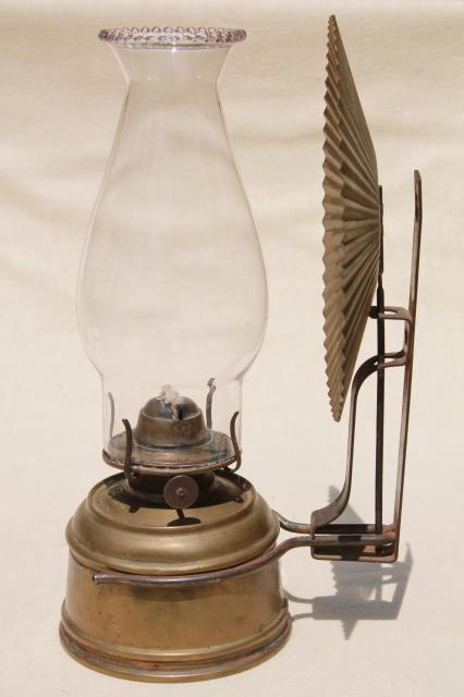 old brass oil lamp wall mount kerosene light w/ tin reflector and glass chimney