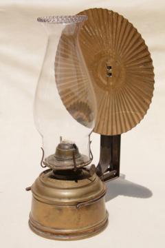 old brass oil lamp wall mount kerosene light w/ tin reflector and glass chimney
