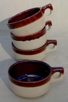 old brown band pottery soup bowl cups or mugs, vintage Western stoneware