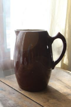 old brown crock pottery pitcher, primitive stoneware jug early 20th century vintage