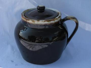old brown drip stoneware bean pot w/ cover, oven proof pottery baker