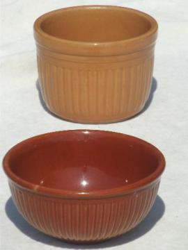 old brown stoneware bowls, ribbed pottery crocks butter crock mixing bowls