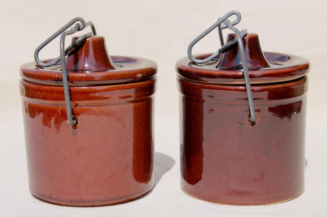Old Brown Stoneware Cheese Crock Jars W Wire Bail Lids