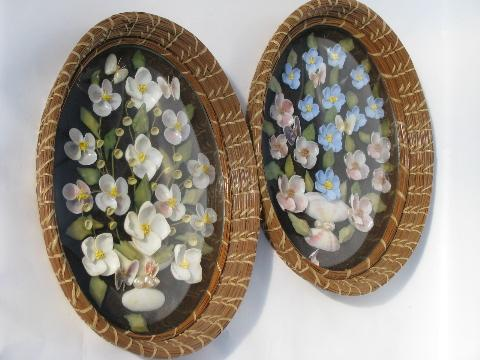 old bubble glass seashell pictures seminole pine needle basket frames