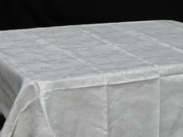 old cabbage roses linen damask tablecloth, vintage table linens