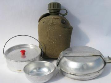 old camping / hiking nesting camp cookware, vintage mess kit w/ canteen