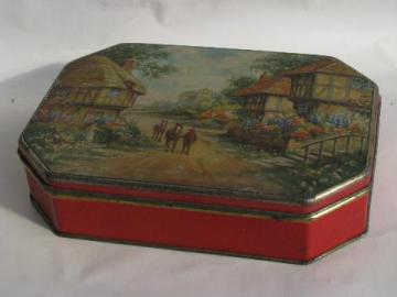 old candy tin w/ English village cottages, vintage toffee box, England