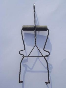 old canning jar lifter, vintage wire kitchen tool, wood handle tongs