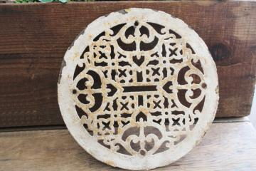 old cast iron grate, round circle register air vent cover antique vintage architectural
