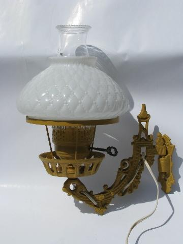 old cast iron wall bracket sconce lamp, electrified light w/ quilted glass shade