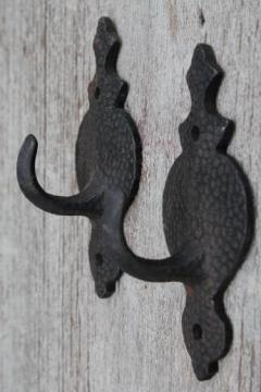 old cast iron wall mount coat hooks w/ hammered finish, Arts & Crafts / Mission vintage hardware