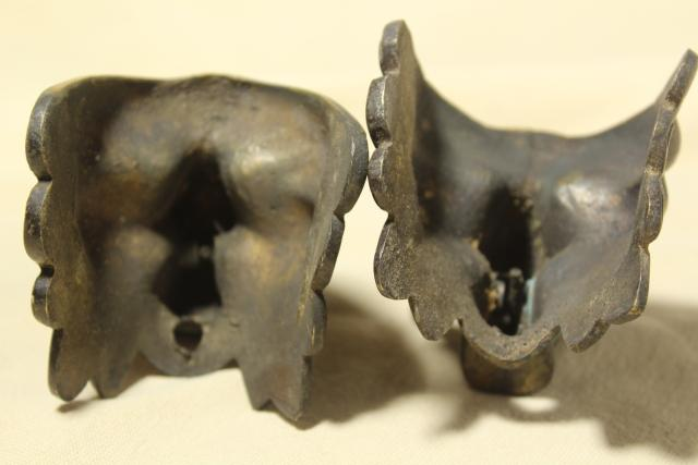 old cast metal gargoyle lion heads, vintage ornamental hardware for clock, fireplace or furniture