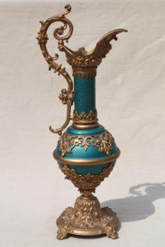 old cast metal spelter lamp base, decorative urn pitcher in blue enamel & gold