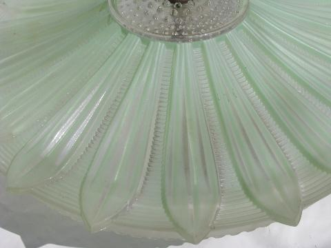 Old Ceiling Light Fixture W Pale Green Glass Flower Shade
