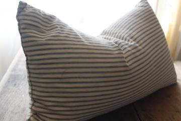 old chicken feather pillow, vintage indigo blue striped cotton ticking fabric cover