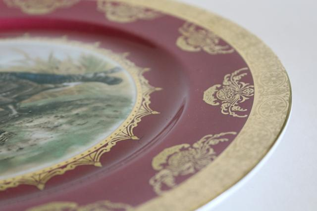 old china game birds plate with a pair of quail, Bavaria Germany vintage porcelain