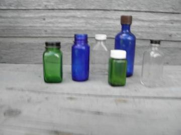 old clear, cobalt, green glass medicine bottles, bakelite, metal lids