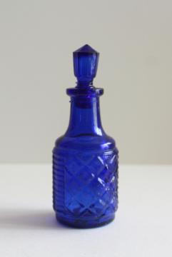 old cobalt blue glass bottle or castor set cruet, vintage pressed glass bottle & stopper