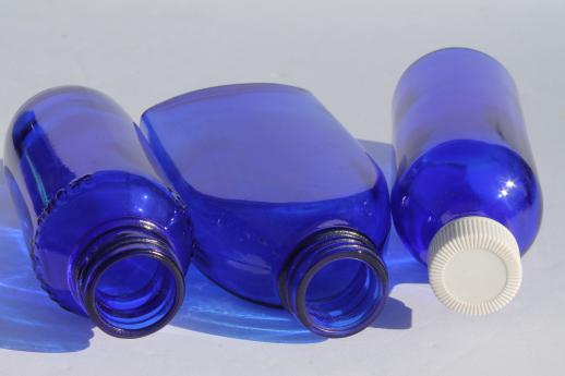 old cobalt blue glass medicine bottles & jars, vintage drugstore bottle lot