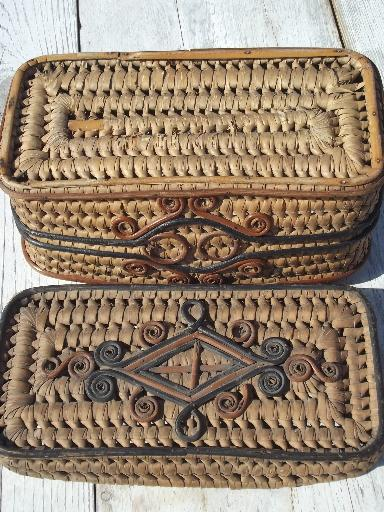old coiled grass basket, Eskimo or Indian basket? vintage sewing box