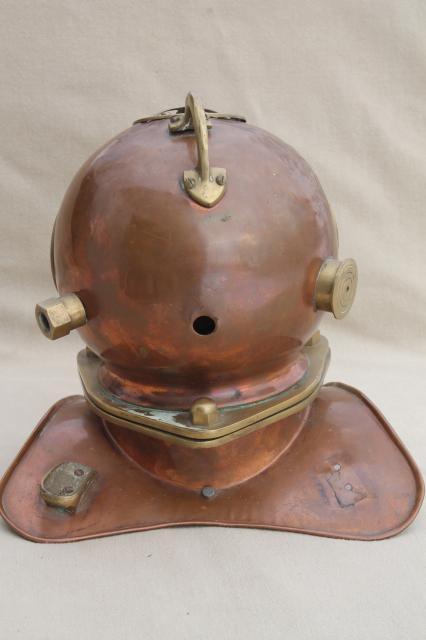 Old Copper Amp Brass Diver S Helmet Deep Sea Diving Display