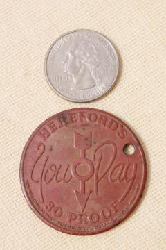 old copper coin Hereford's whiskey advertising token, Hereford cattle cow or bull