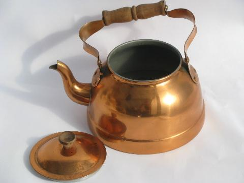with wood handles. Small Copper and tin Tea Kettle