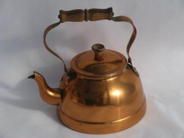 old copper tea kettle, teakettle w/ wood handle, vintage Portugal