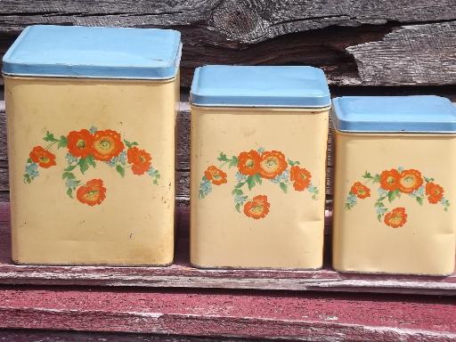 old cottage kitchen vintage metal canisters set, flowers w